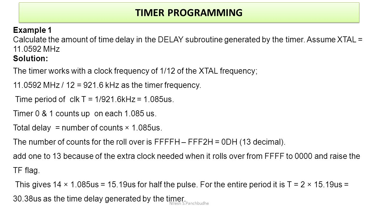 TIMER PROGRAMMING Example 1