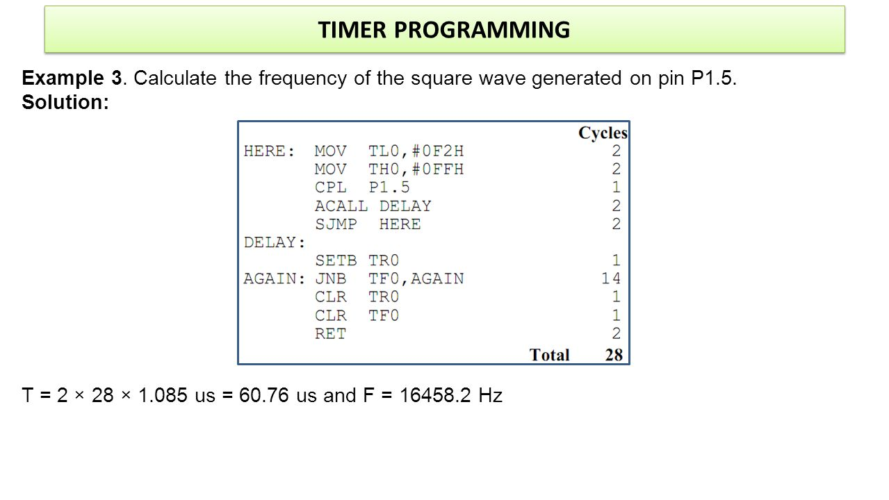 TIMER PROGRAMMING Example 3. Calculate the frequency of the square wave generated on pin P1.5. Solution: