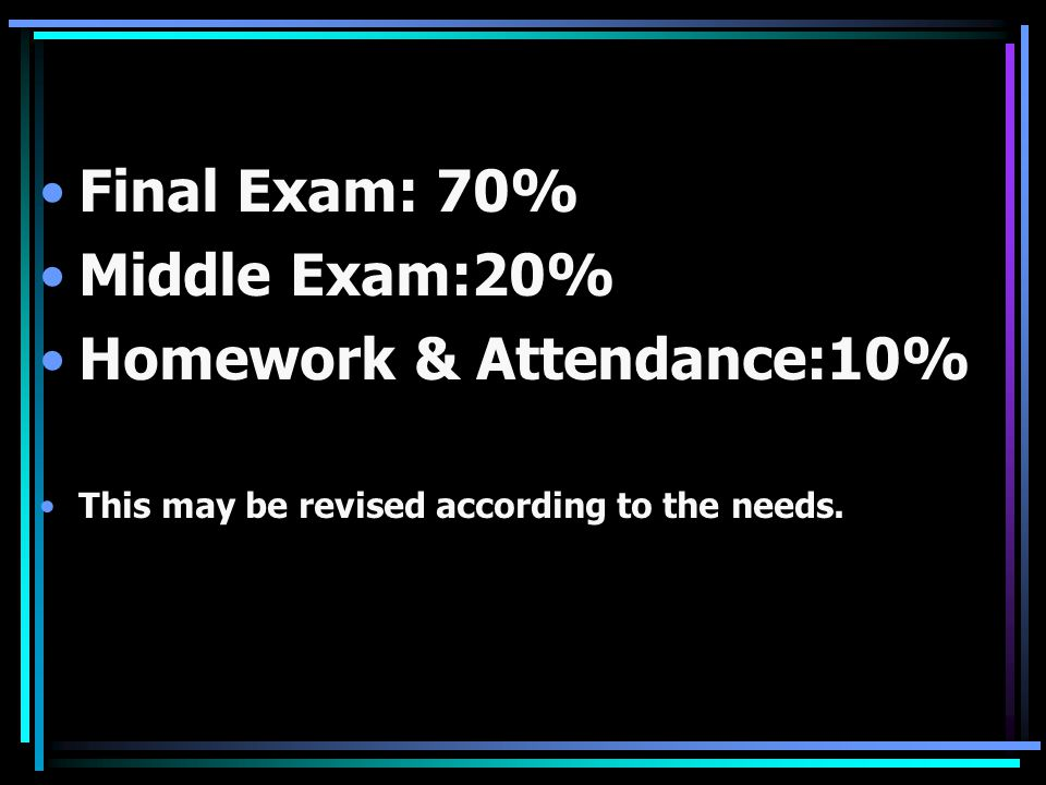 Homework & Attendance:10%