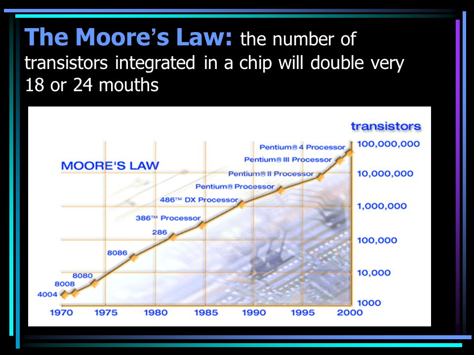 The Moore's Law: the number of transistors integrated in a chip will double very 18 or 24 mouths
