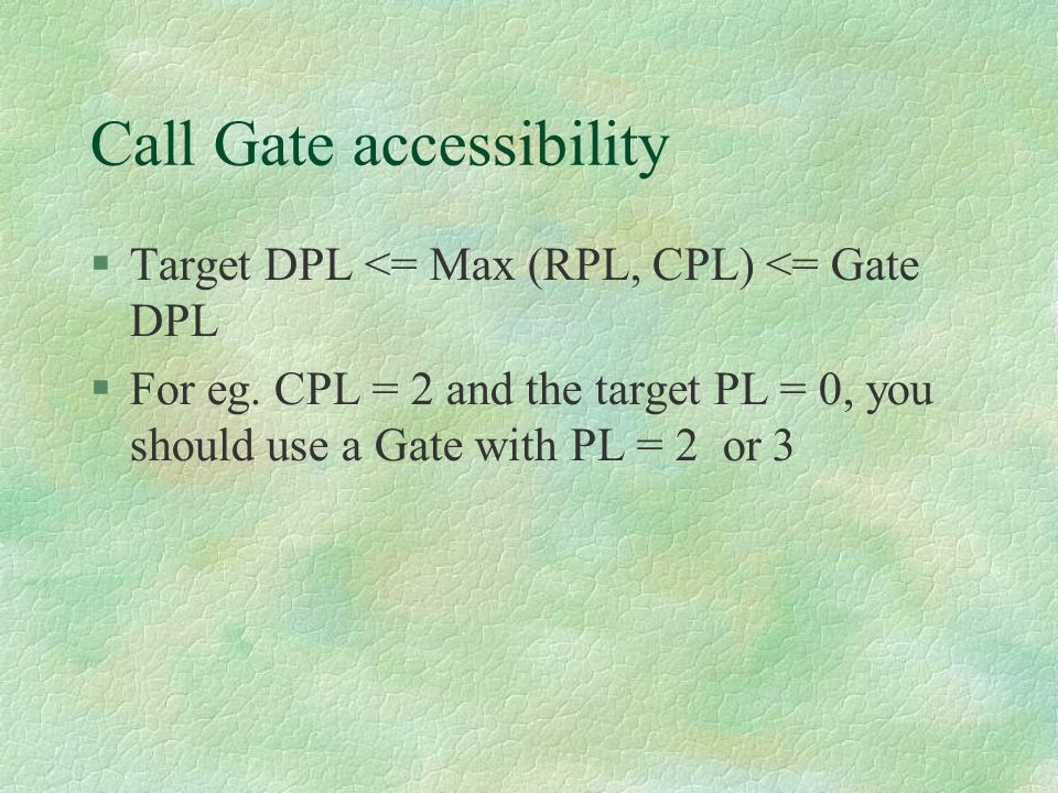Call Gate accessibility