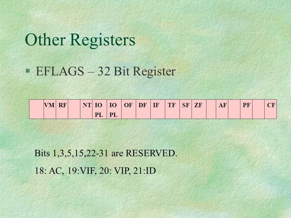 Other Registers EFLAGS – 32 Bit Register