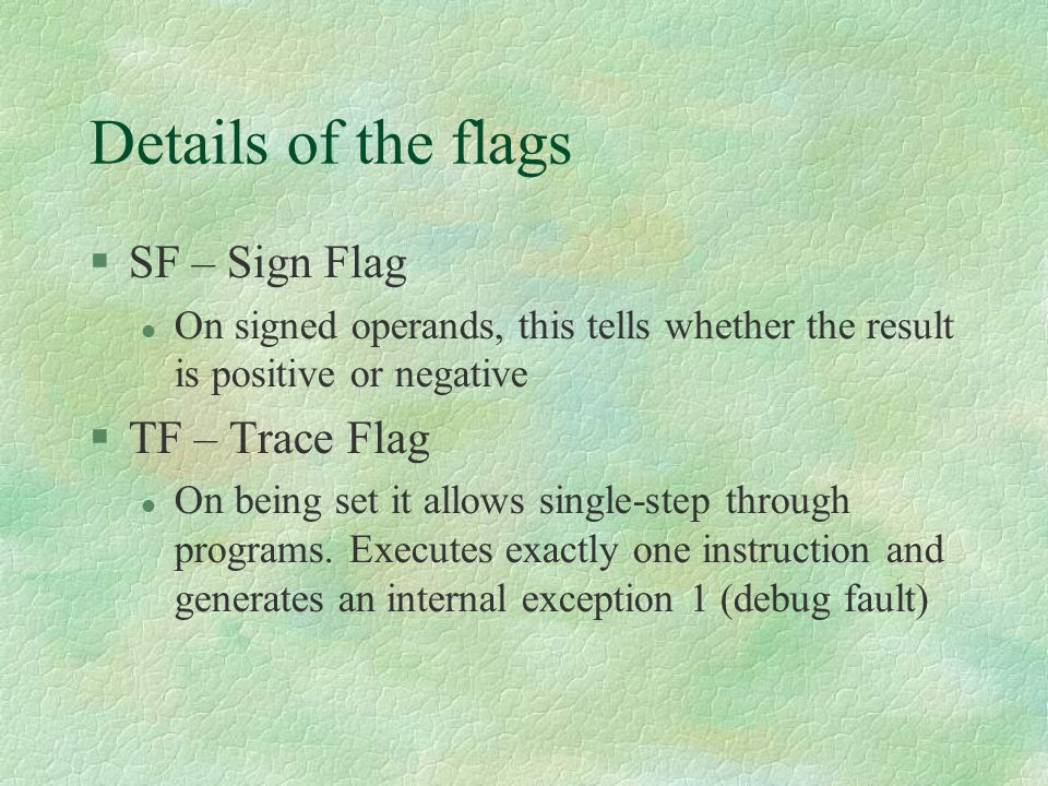 Details of the flags SF – Sign Flag TF – Trace Flag
