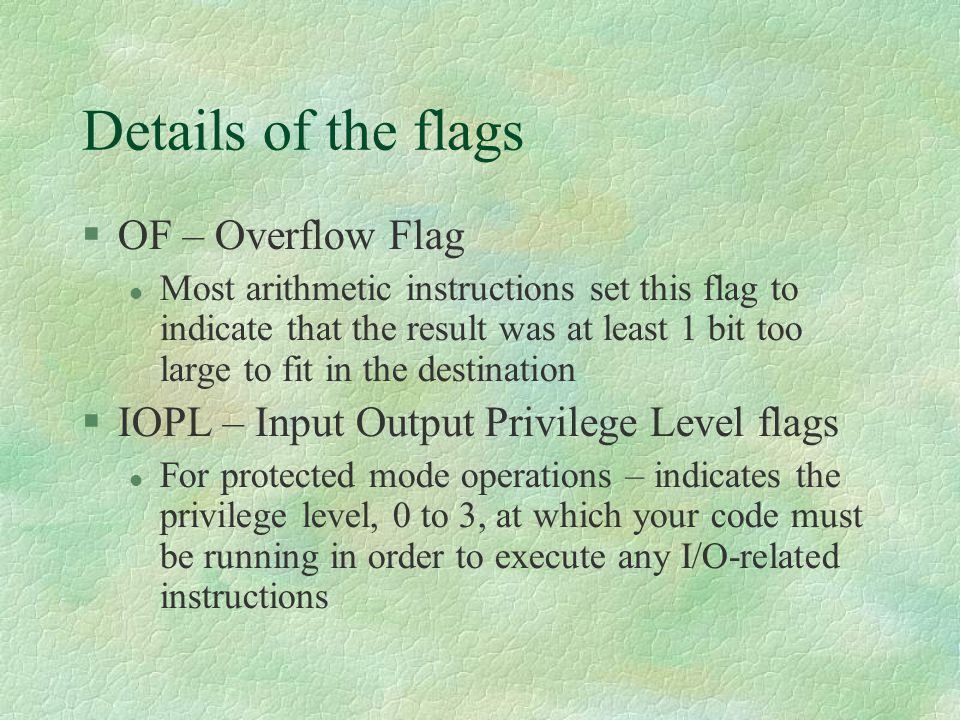 Details of the flags OF – Overflow Flag