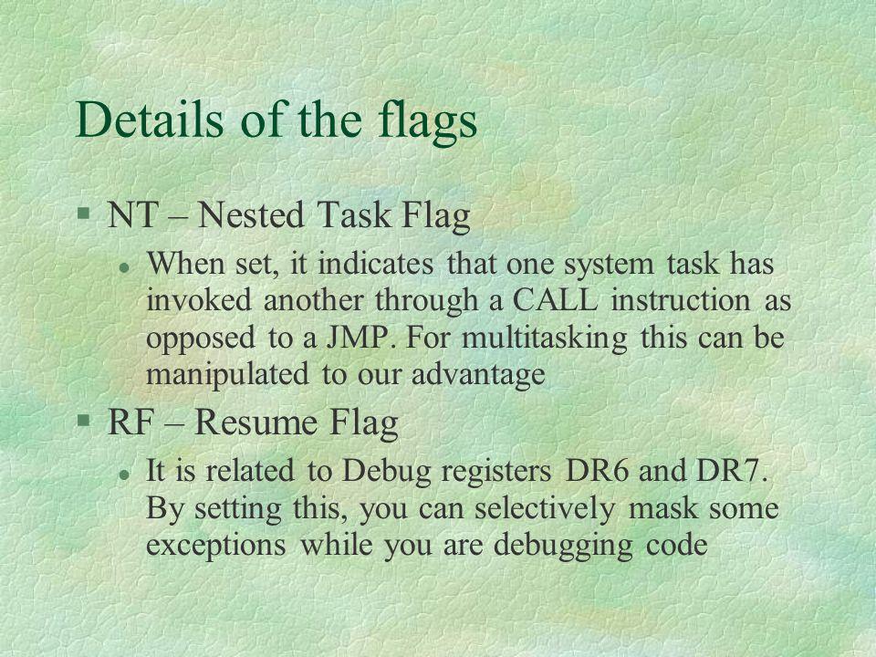 Details of the flags NT – Nested Task Flag RF – Resume Flag