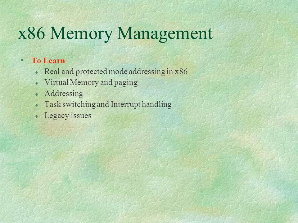 x86 Memory Management To Learn
