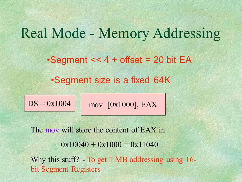 Real Mode - Memory Addressing