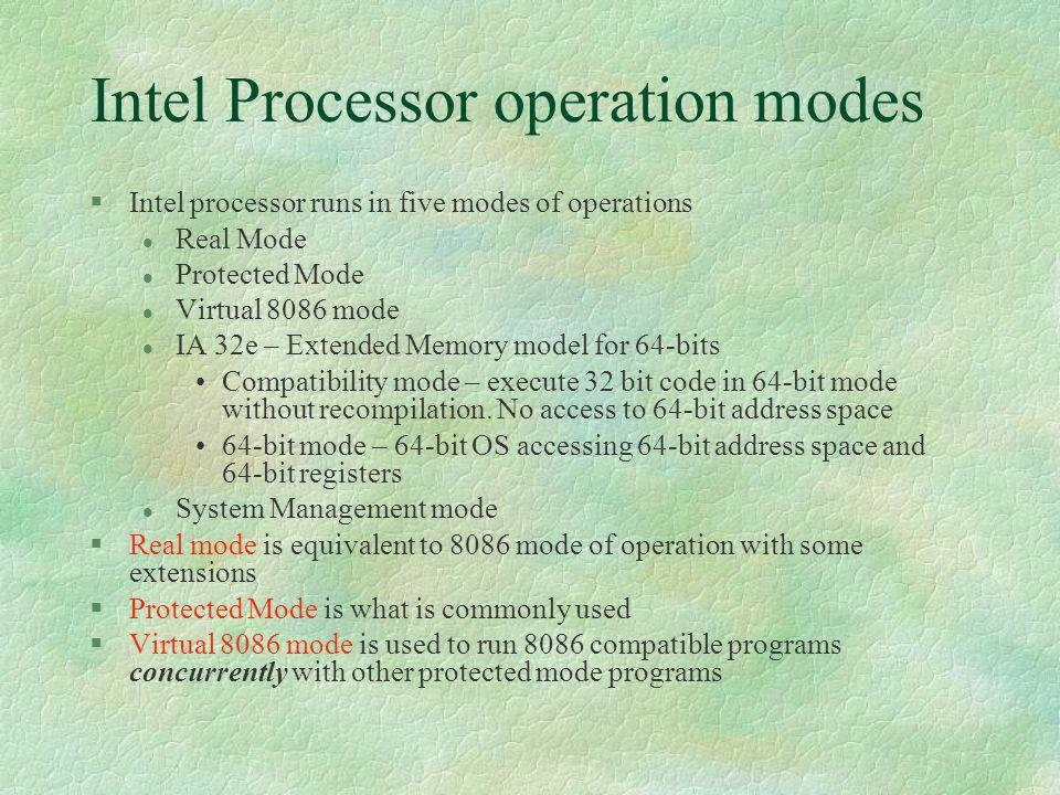 Intel Processor operation modes