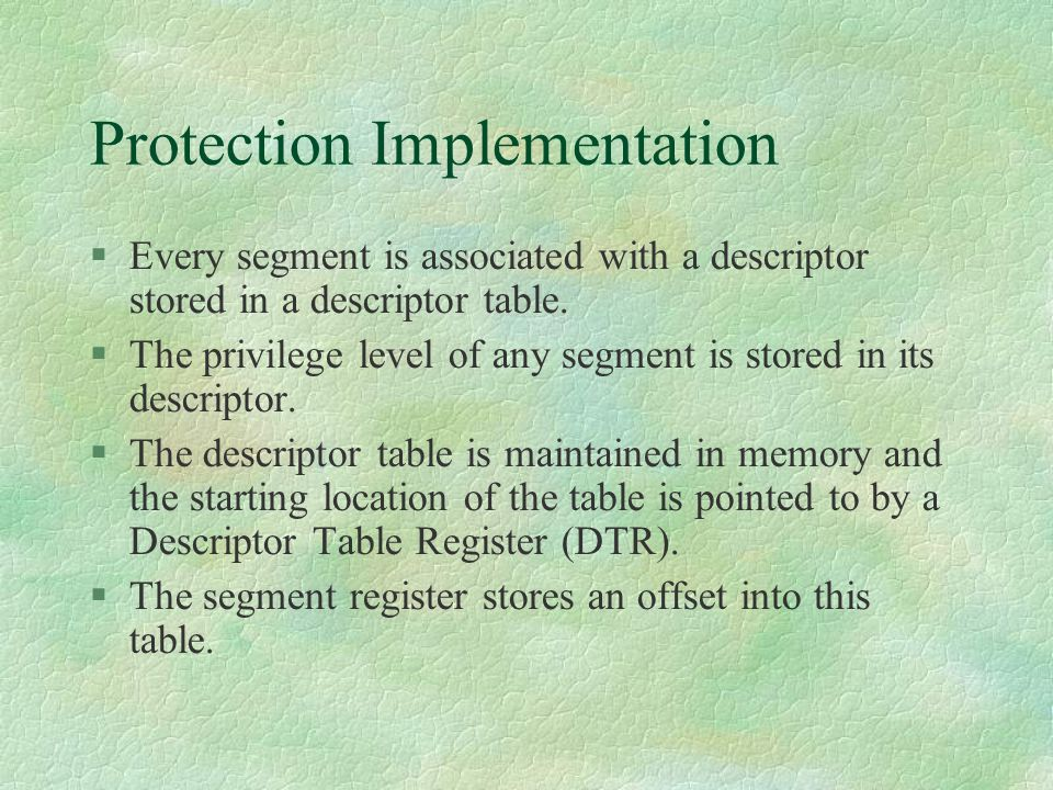 Protection Implementation