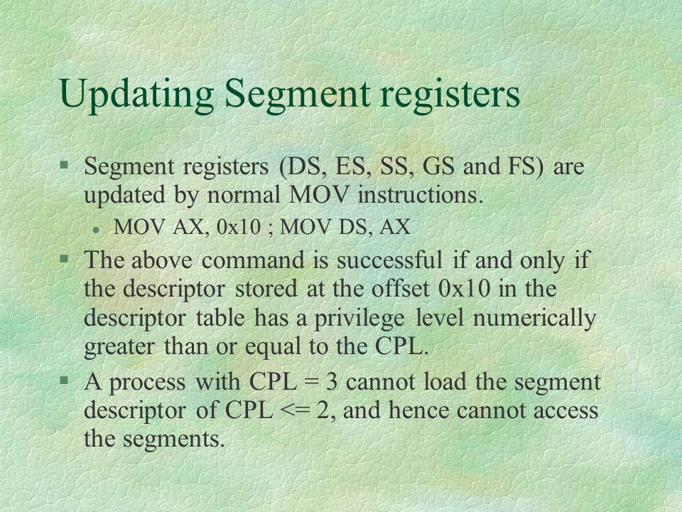 Updating Segment registers