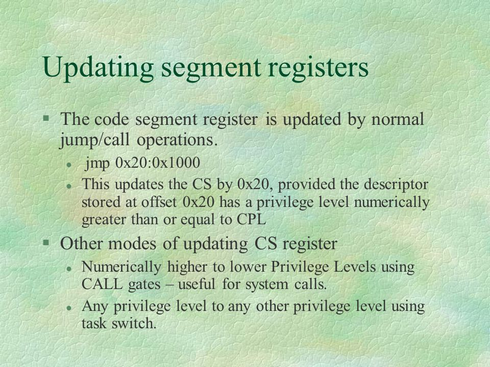 Updating segment registers