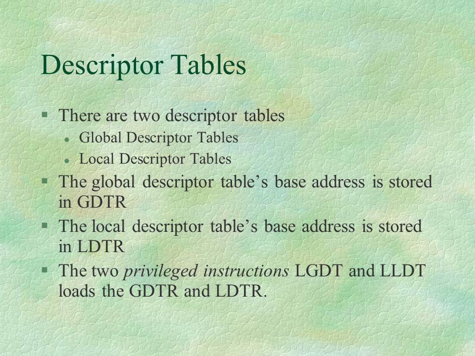 Descriptor Tables There are two descriptor tables