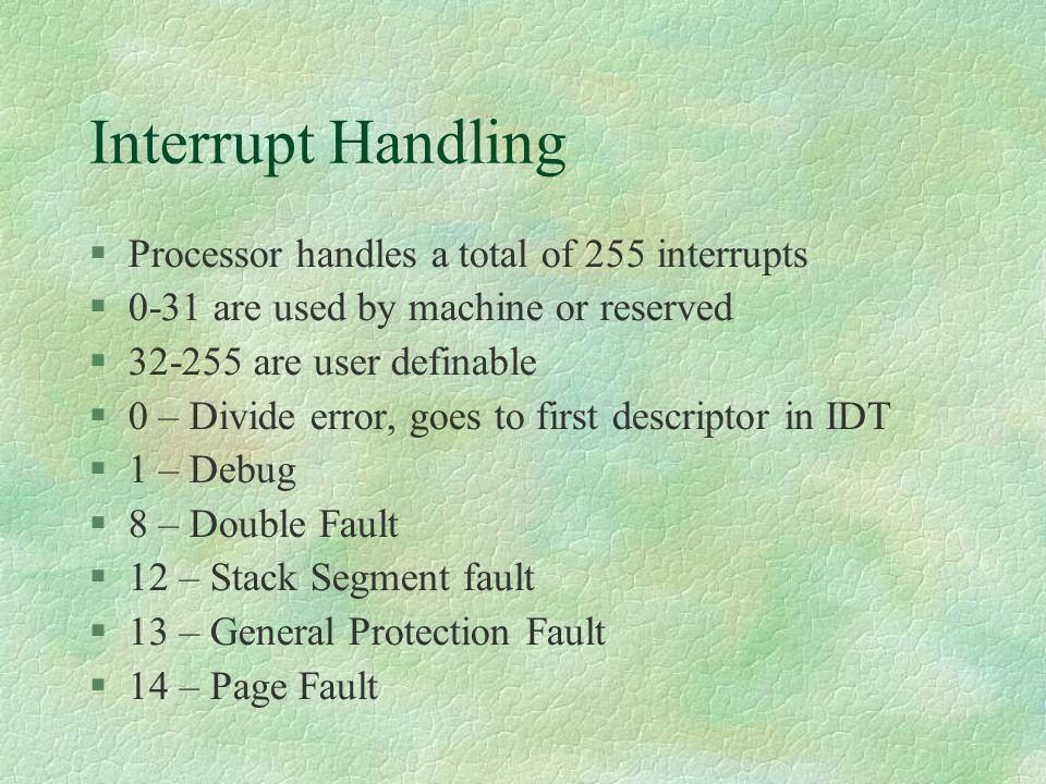Interrupt Handling Processor handles a total of 255 interrupts