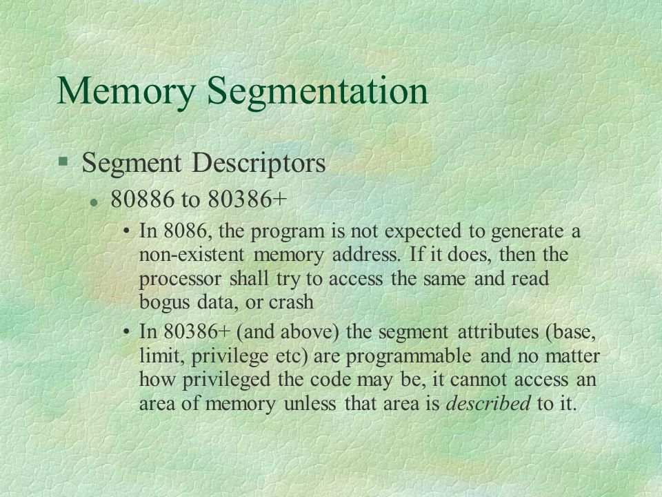 Memory Segmentation Segment Descriptors 80886 to 80386+
