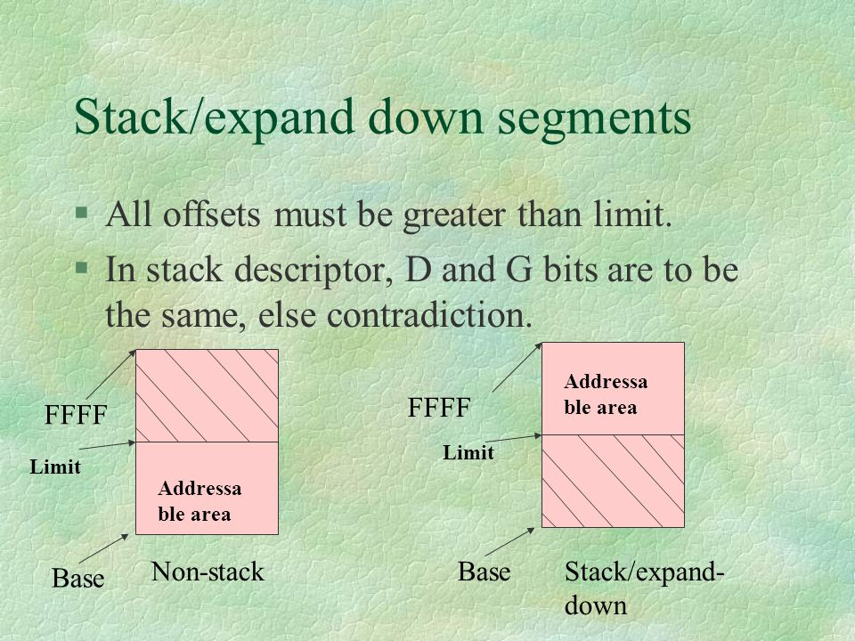 Stack/expand down segments
