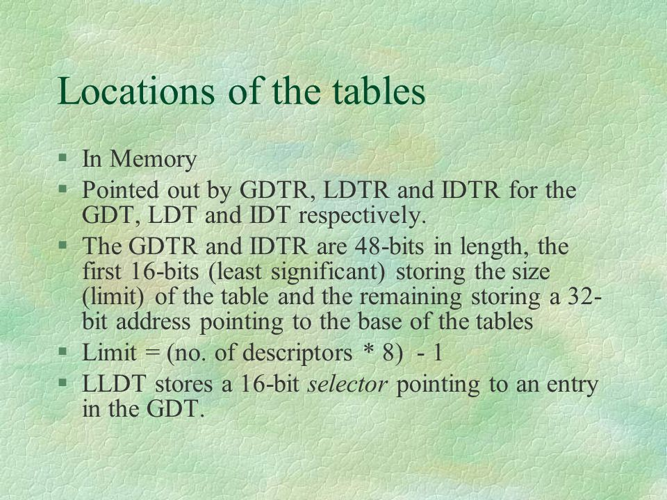 Locations of the tables