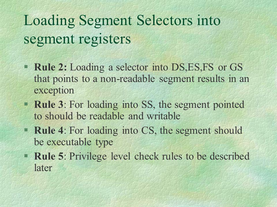 Loading Segment Selectors into segment registers