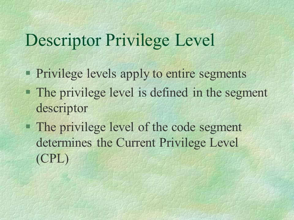 Descriptor Privilege Level