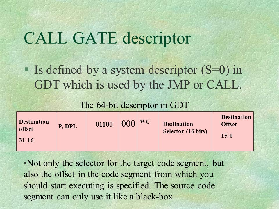 CALL GATE descriptor Is defined by a system descriptor (S=0) in GDT which is used by the JMP or CALL.
