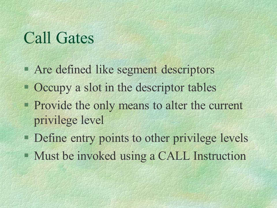 Call Gates Are defined like segment descriptors