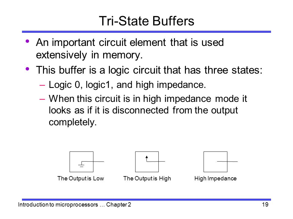 Tri-State Buffers An important circuit element that is used extensively in memory. This buffer is a logic circuit that has three states:
