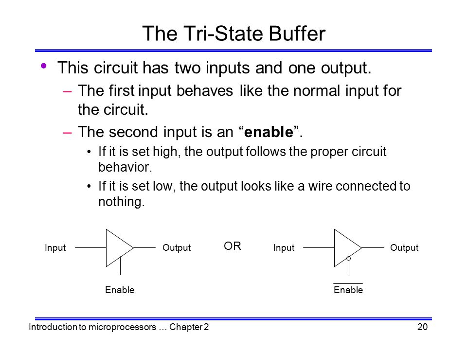 The Tri-State Buffer This circuit has two inputs and one output.