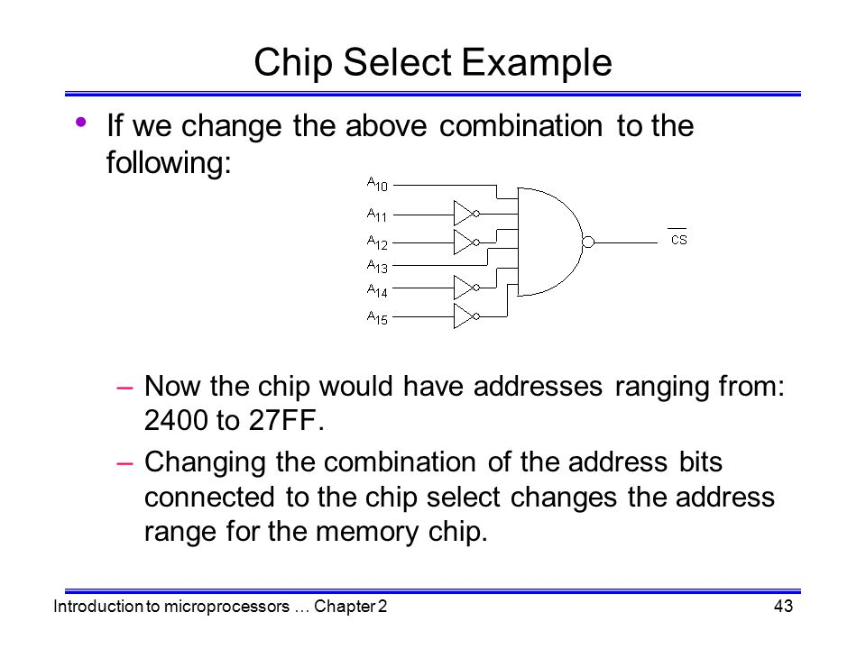 Chip Select Example If we change the above combination to the following: Now the chip would have addresses ranging from: 2400 to 27FF.