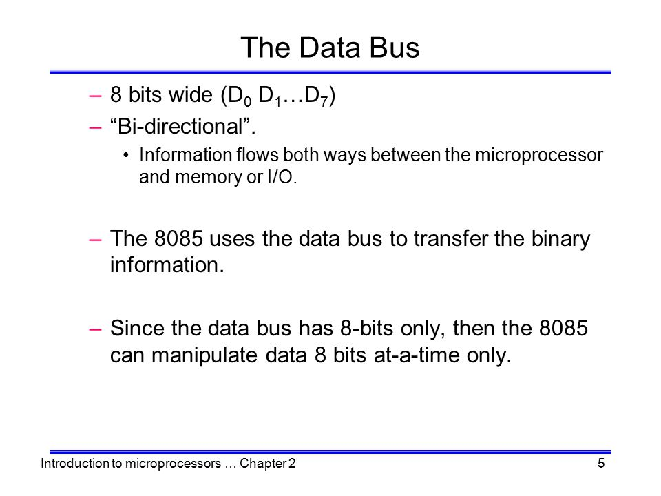 The Data Bus 8 bits wide (D0 D1…D7) Bi-directional .