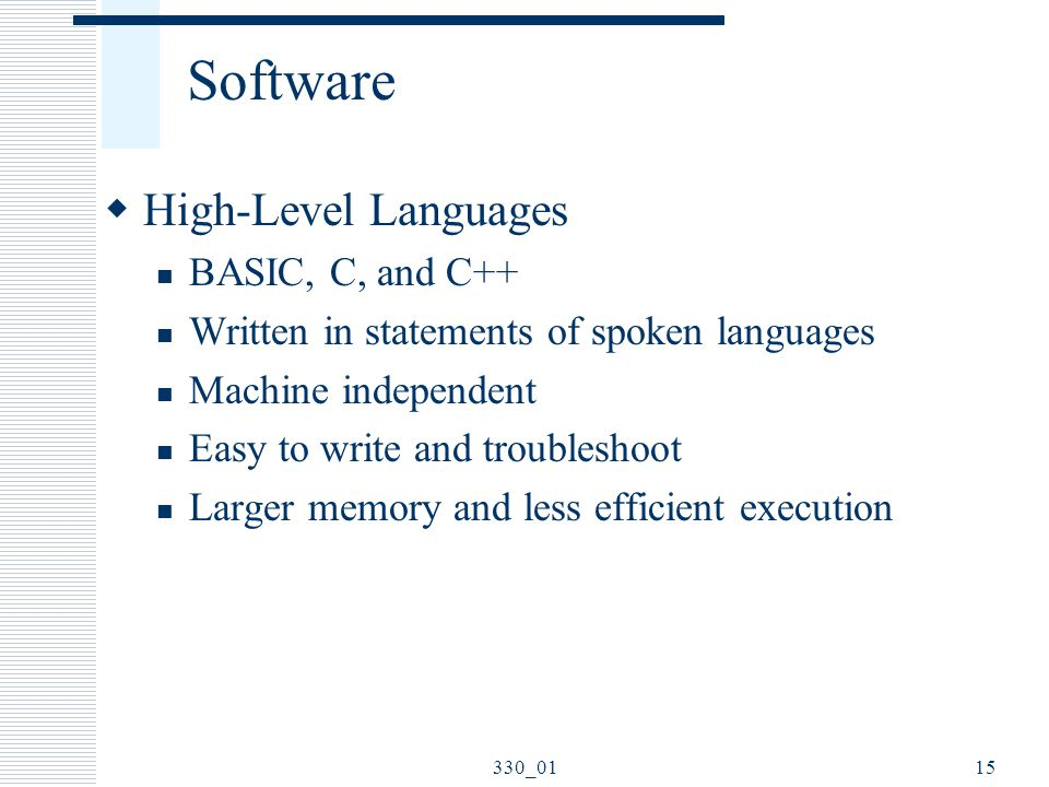Software High-Level Languages BASIC, C, and C++