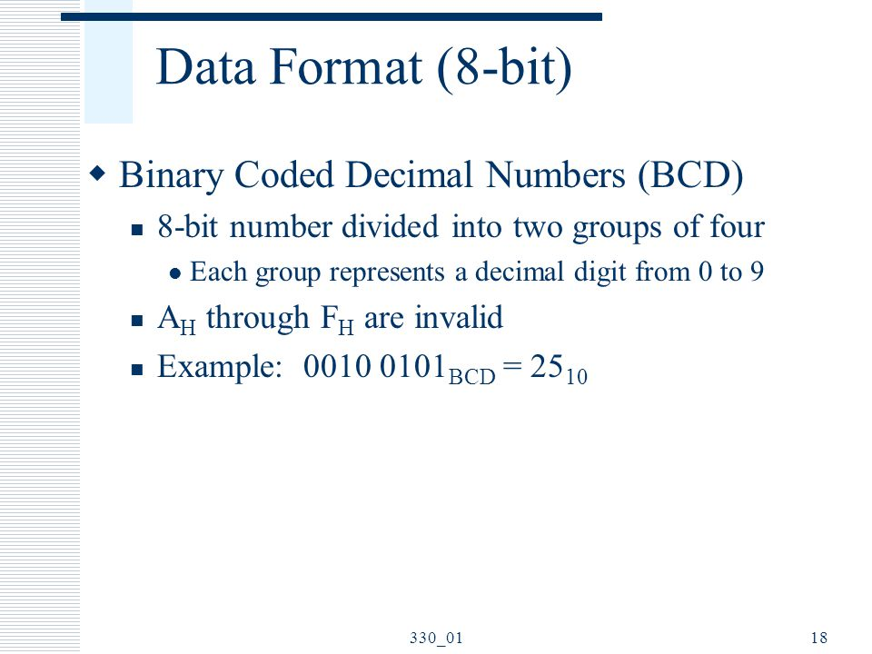 Data Format (8-bit) Binary Coded Decimal Numbers (BCD)
