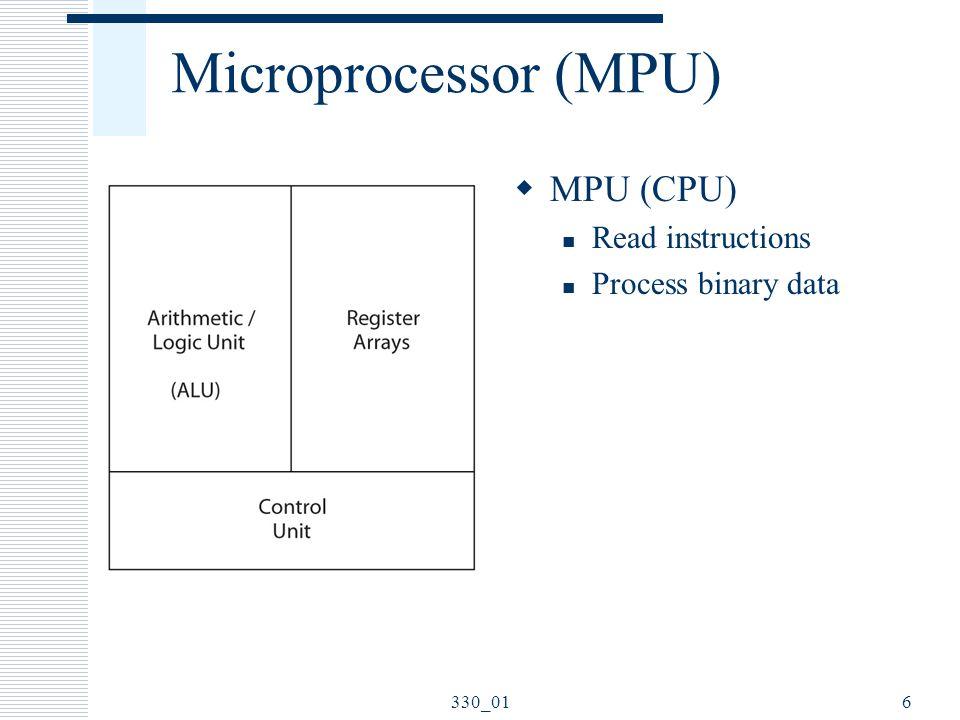 Microprocessor (MPU) MPU (CPU) Read instructions Process binary data