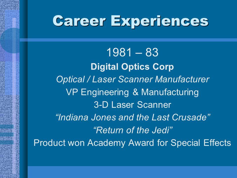 Career Experiences 1981 – 83 Digital Optics Corp