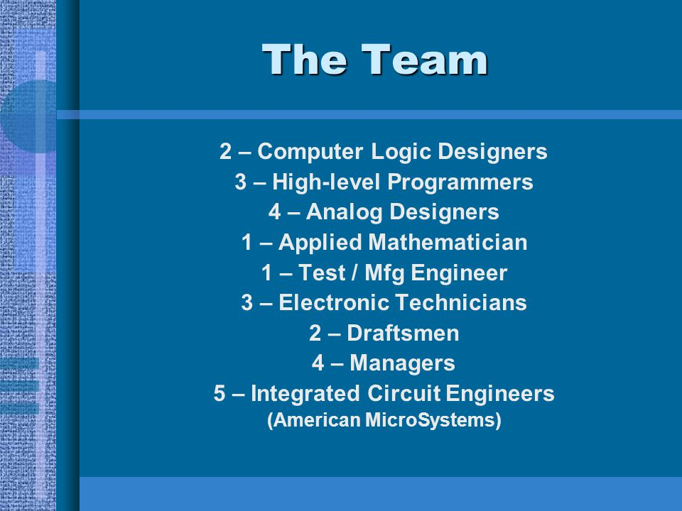The Team 2 – Computer Logic Designers 3 – High-level Programmers