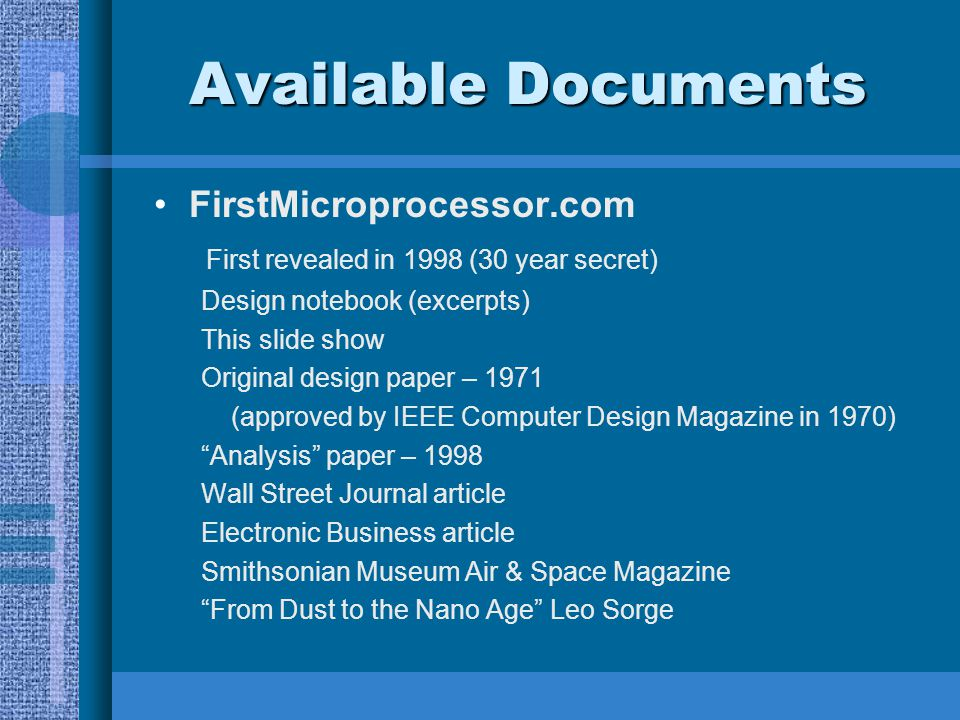 Available Documents FirstMicroprocessor.com