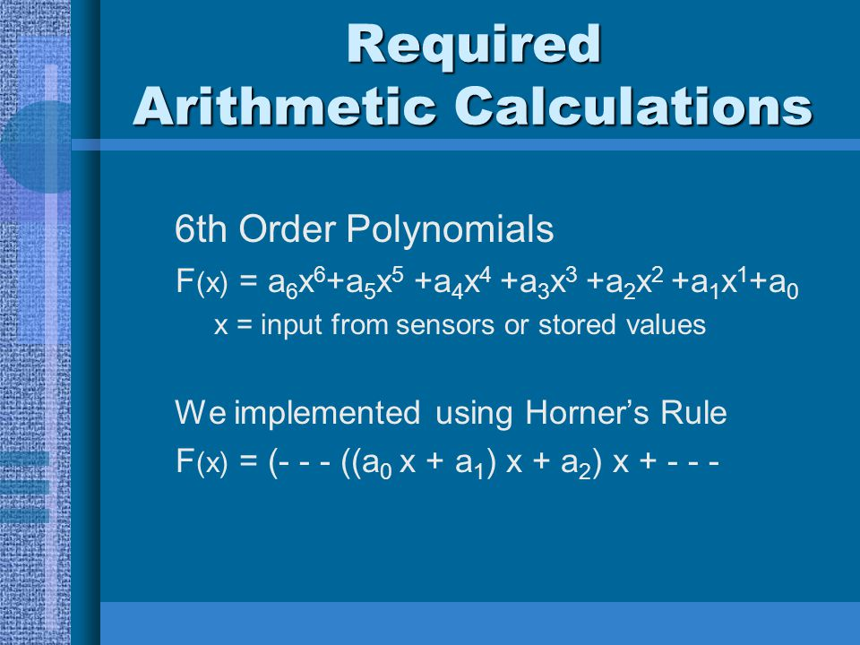 Required Arithmetic Calculations