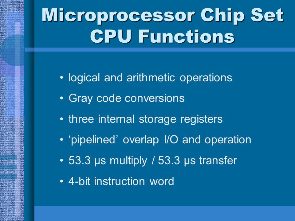 Microprocessor Chip Set CPU Functions