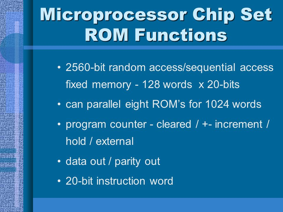 Microprocessor Chip Set ROM Functions