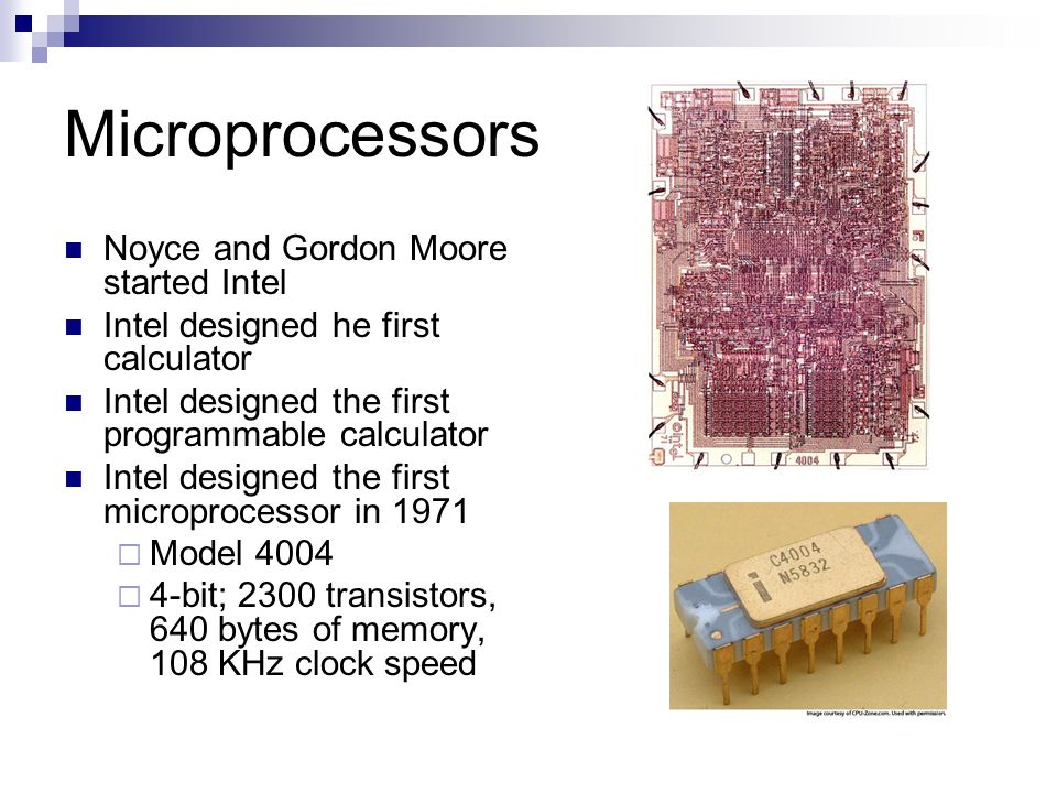 Microprocessors Noyce and Gordon Moore started Intel