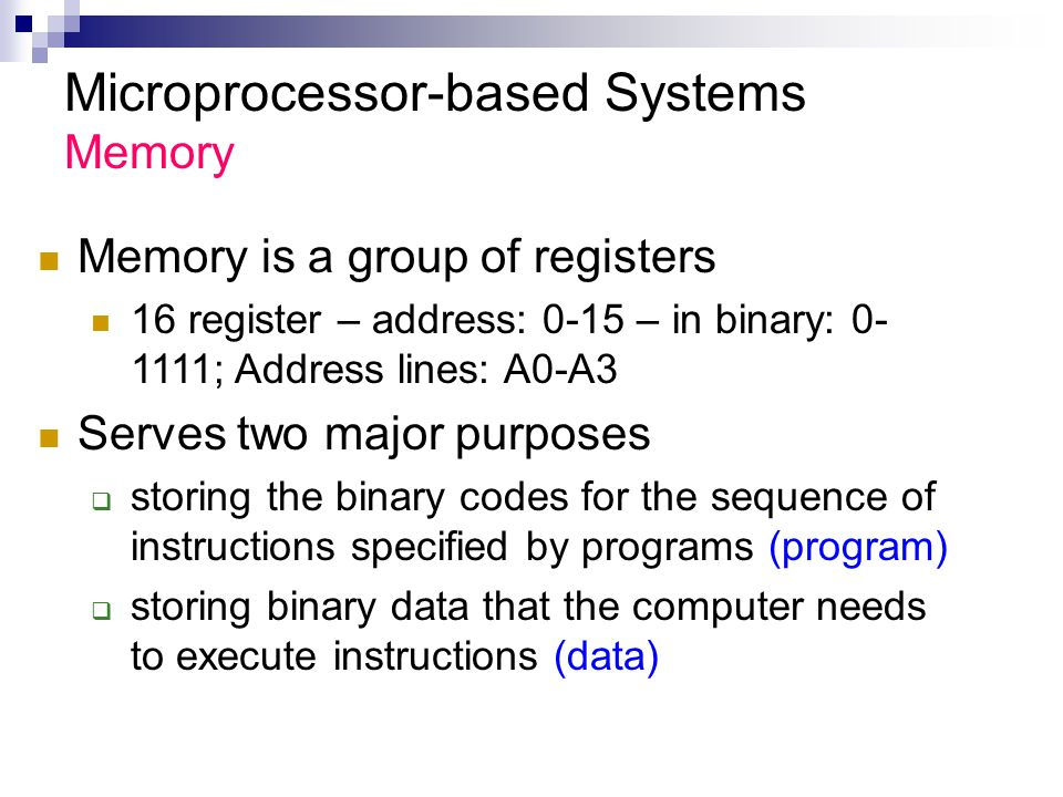 Microprocessor-based Systems Memory