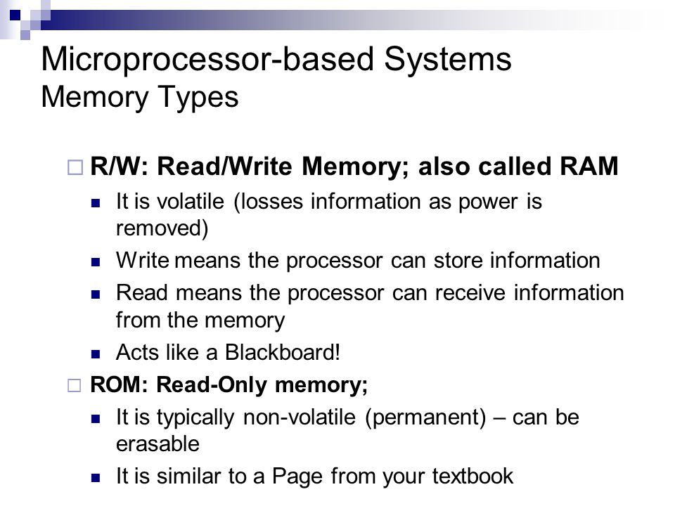 Microprocessor-based Systems Memory Types