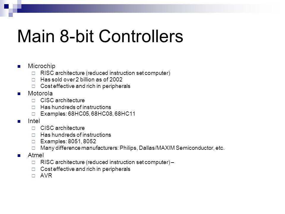 Main 8-bit Controllers Microchip Motorola Intel Atmel