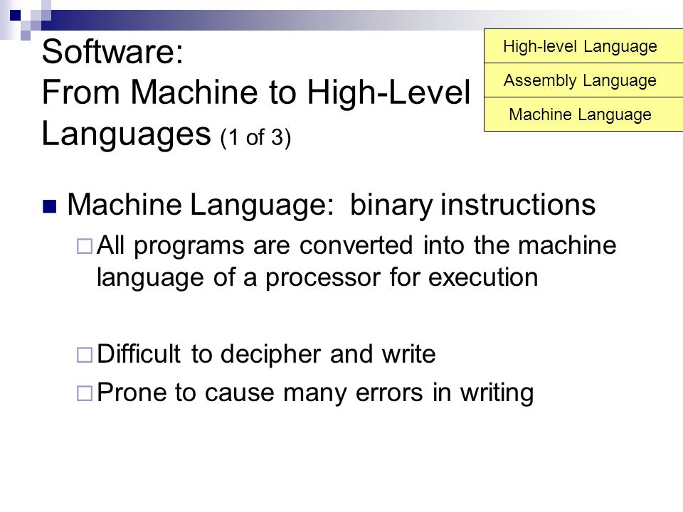 Software: From Machine to High-Level Languages (1 of 3)
