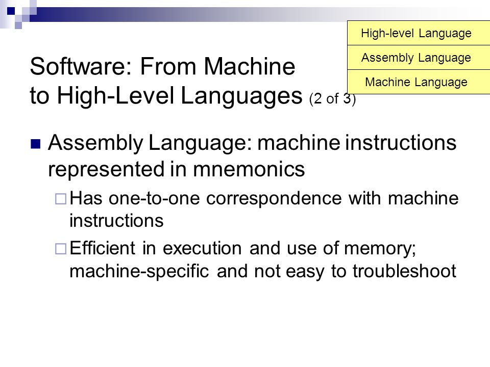 Software: From Machine to High-Level Languages (2 of 3)