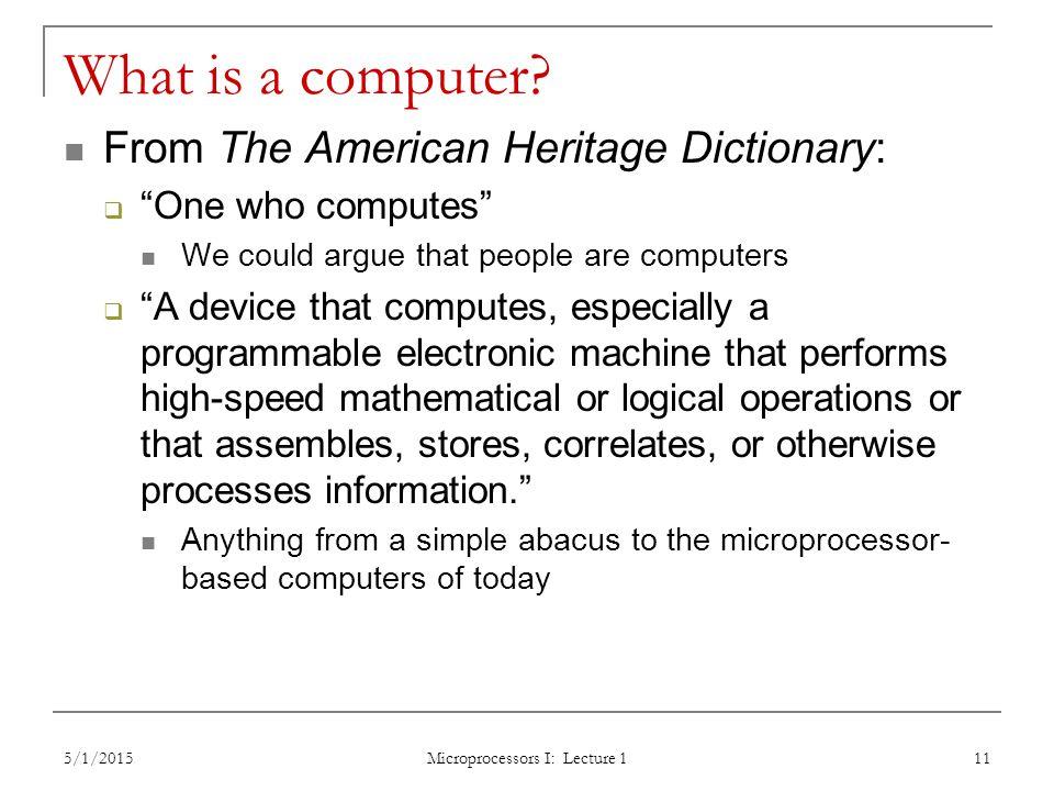 Microprocessors I: Lecture 1