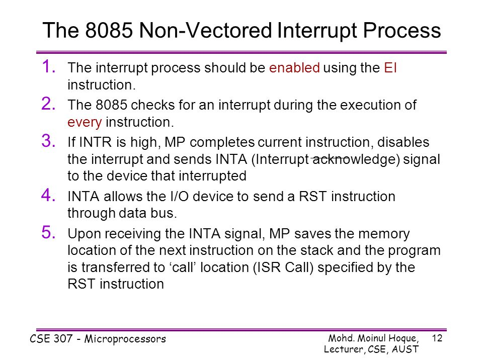 The 8085 Non-Vectored Interrupt Process