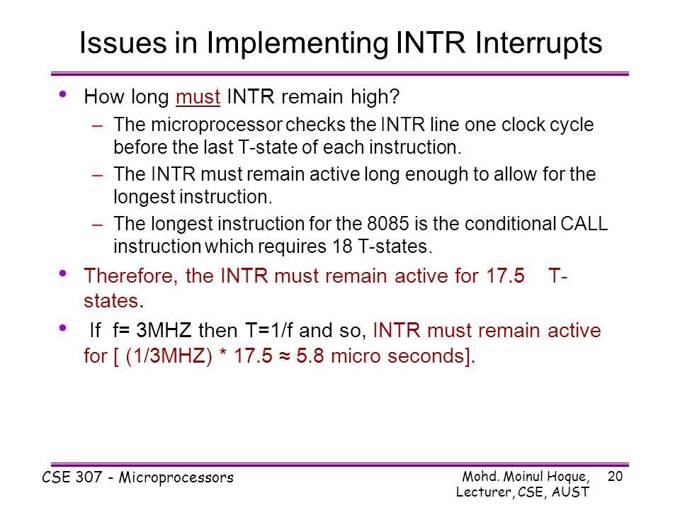 Issues in Implementing INTR Interrupts