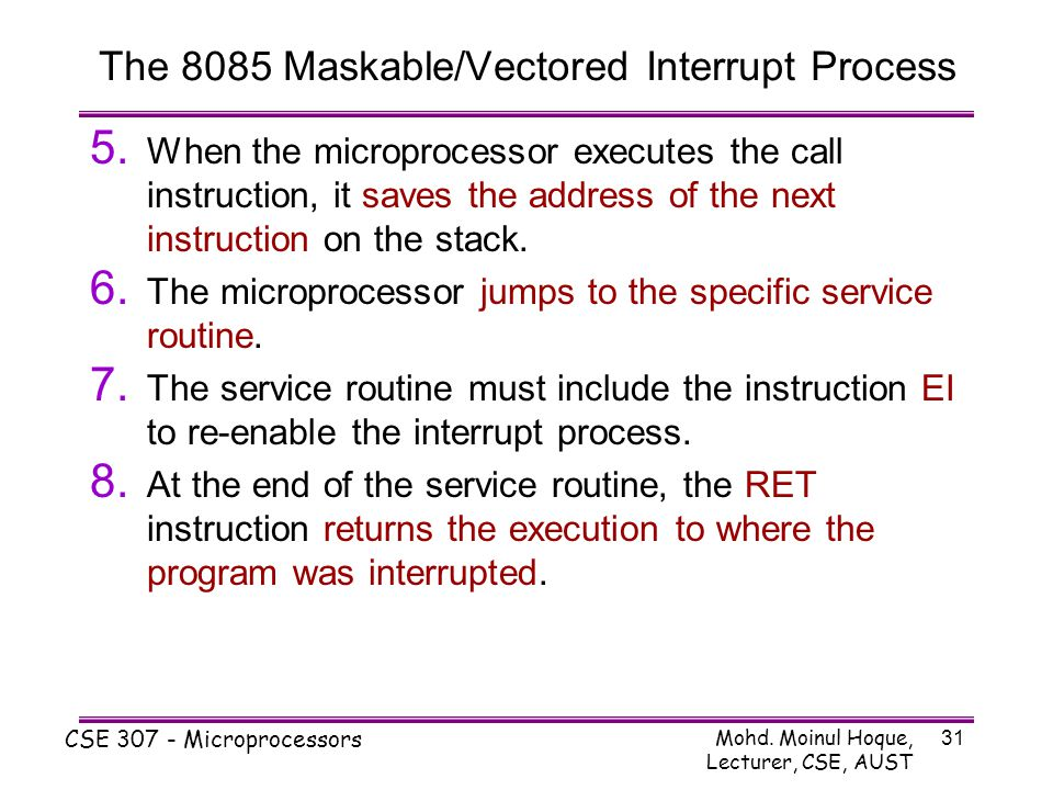The 8085 Maskable/Vectored Interrupt Process