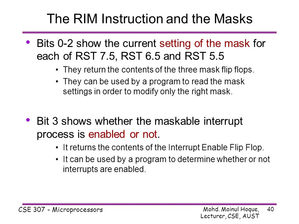 The RIM Instruction and the Masks