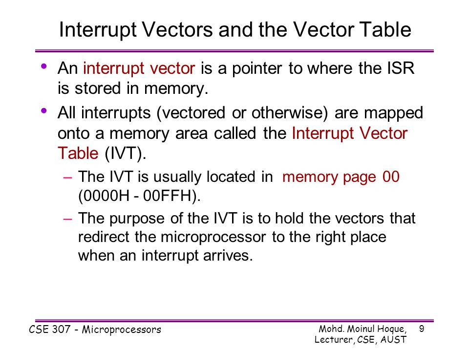 Interrupt Vectors and the Vector Table