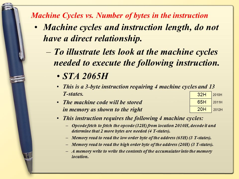 Machine Cycles vs. Number of bytes in the instruction